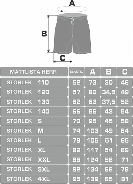Shorts storleksguide